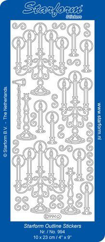 1 pk 10 vl stickers christmas candles silver 0994002 10x23cm