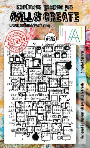 aall create stamp scripted squares aalltp385 15x10cm