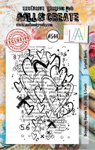 aall create stamp set scripted hearts aalltp544 73x1025cm 0921