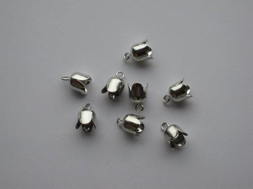 brass bell cap with eye 6mm platinum 8pcs 122969601