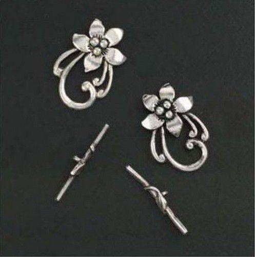 clasp bar flower ring clasp platinum 2pc 118081741