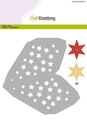 craftemotions die christmas decoration star 3d 23 cm card 15x21cm
