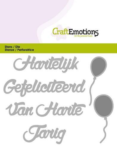 craftemotions die tekst hartelijk gefeliciteerd nl card 11x9cm