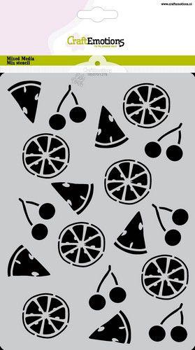 craftemotions mask stencil summer fun fruit a5 carla creaties 0621