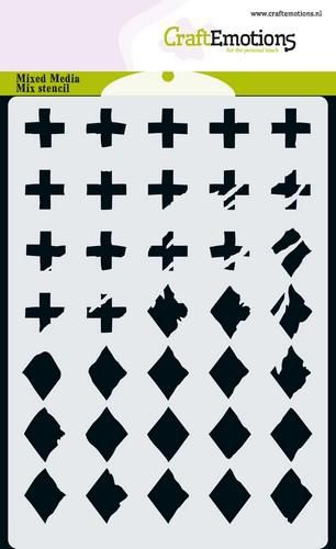 craftemotions mm mix stencil design diamond cross a6