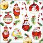CraftEmotions servetten 5st - Kerstballen 33x33cm Ambiente 33315560 (09-21)