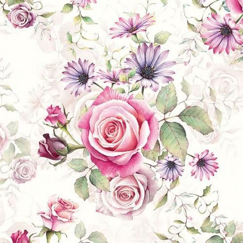 craftemotions serviettes 5pcs roses rose et lilas 33x33cm ambiente 13311340
