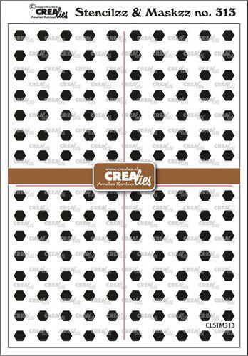 crealies stencilzzmaskzz hexagons clstm313 15x21cm 0921