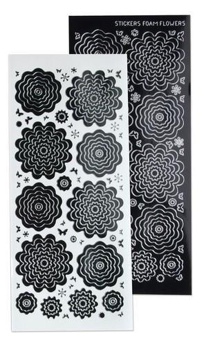 lecrea 10 stickers des fleurs 4 black argent 615831
