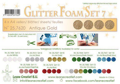 lecrea glitter foam 4 sht a4 antique gold 257620 0921