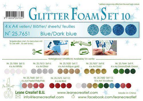 lecrea glitter foam 4 sht a4 blue 257651 0921
