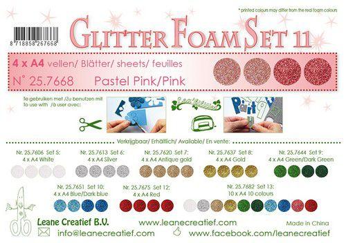 lecrea glitter foam 4 sht a4 pink 257668 0921