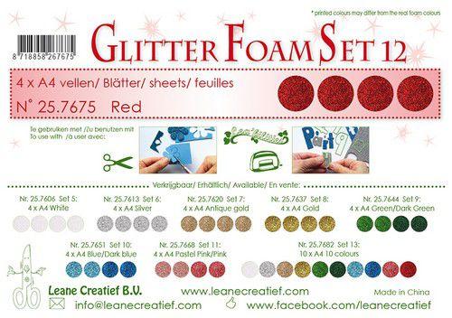 lecrea glitter foam 4 sht a4 red 257675 0921