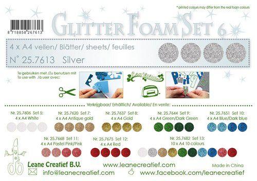 lecrea glitter foam 4 sht a4 silver 257613 0921