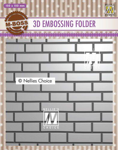 nellies choice 3d emb folder brickwall ef3d023 150x150mm 0121
