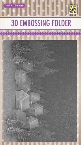 nellies choice 3d emb folder snowy village ef3d017 105x148mm