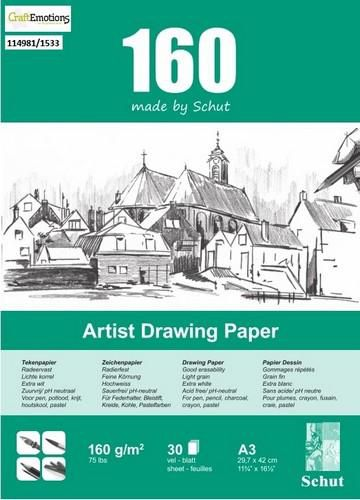 schut artist drawing paper 160 gram a3 bloc a 30 feuilles