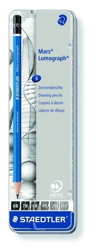 staedtler mars lumograph pencil metal tin 6 pcs 100 g6