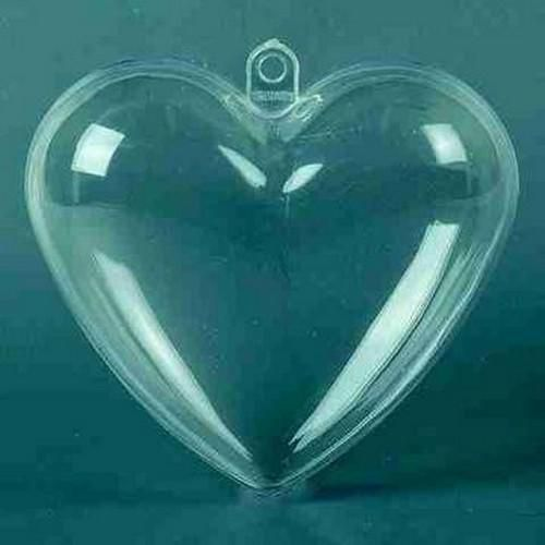 transparent plastic heart 6cm 5pc